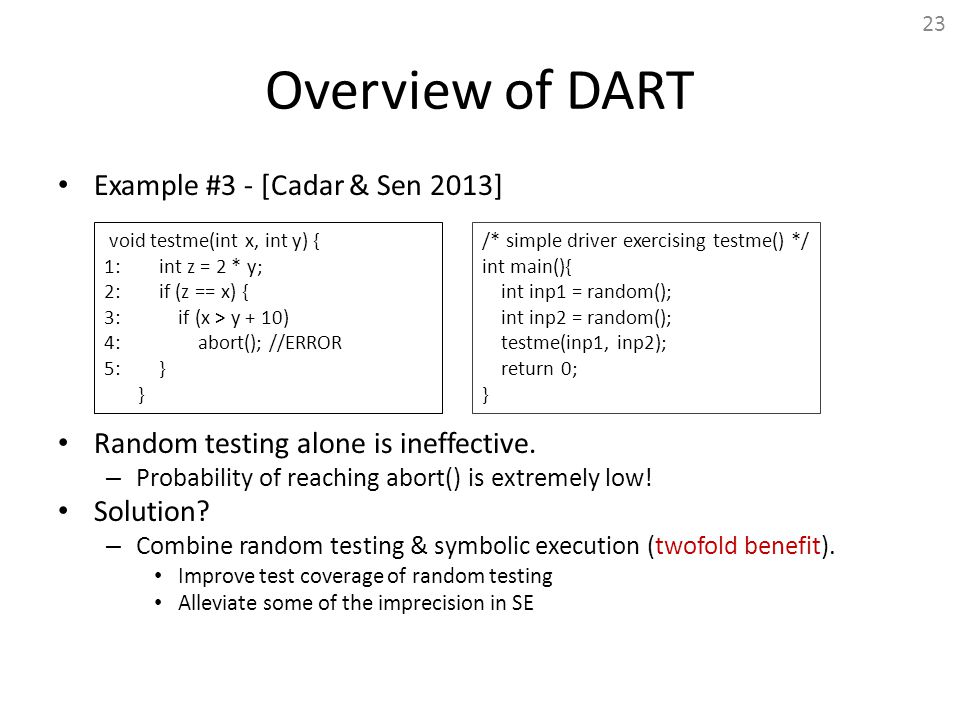 Overview of DART Example #3 - [Cadar & Sen 2013]